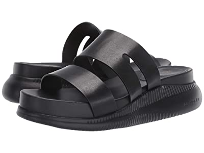 Cole Haan 2.Zerogrand Slotted Slide Sandal (Black Leather/Black) Women