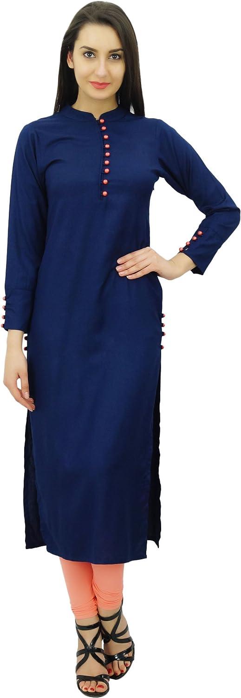 Details about  /Bimba Women Full Sleeve Straight Kurta Ethnic Rayon Kurti-US-10|EX-E479A