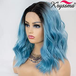 K'ryssma Blue Lace Front Wig Ombre Black Roots Short Bob Wig for Women 2 Tone Black to Blue Wavy Synthetic Lace Wigs