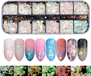 12 Holographic Laser Mermaid Nail Sequins Beauties Factory Flake Heart Butterfly Confetti Art Decals Iridescent Glitter St...