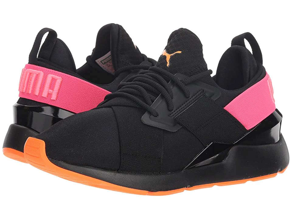 Puma Kids Muse Chase Jr (Big Kid) (Puma Black/Knockout Pink) Girls Shoes