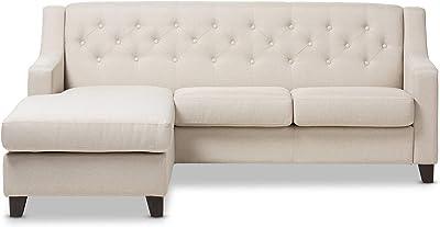 Amazon.com: Baxton Studio Parkis Linen Button Tufted Sofa ...