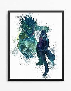 JoJo's Bizarre Adventure Print, Jotaro Kujo Poster, JoJo no Kimyou na Bouken Anime Poster, Anime Print Watercolor N.002 (16 x 20 inch)