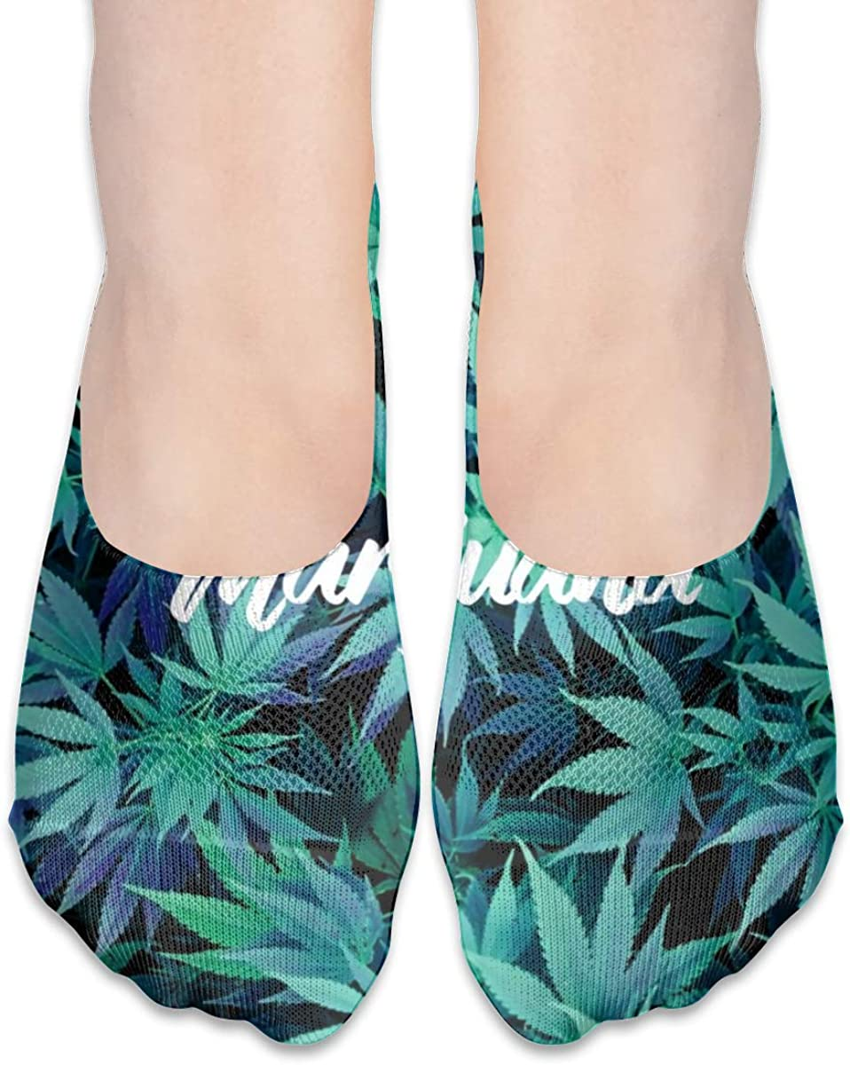 Personalized No Show Socks With Marijuana Weed Print For Women Men