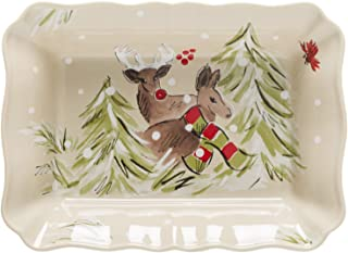 "Casafina Deer Friends Collection Stoneware Ceramic Rect. Baker 12"" (Linen)"