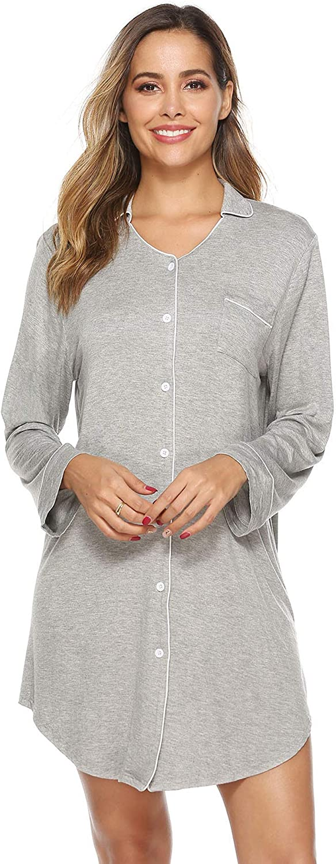 Misuli Nightgown Women's Nightshirt Boyfriend Pajamas Sleep Shirts Button Down Sleepwear S-XXL