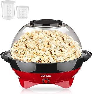 MVPower Máquina de Palomitas, 800W Popcorn Maker, Superficie de Calentamiento Extraíble Recubrimiento Antiadherente, Tapa Grande, con 2 Tazas de Medición (100 ml, 30 ml), sin BPA, 5 Litros