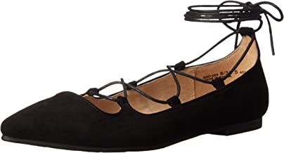 black pointed lace up flats