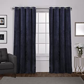 Exclusive Home Curtains Velvet Heavyweight Window Curtain Panel Pair with Grommet Top, 54x108, Navy, 2 Piece