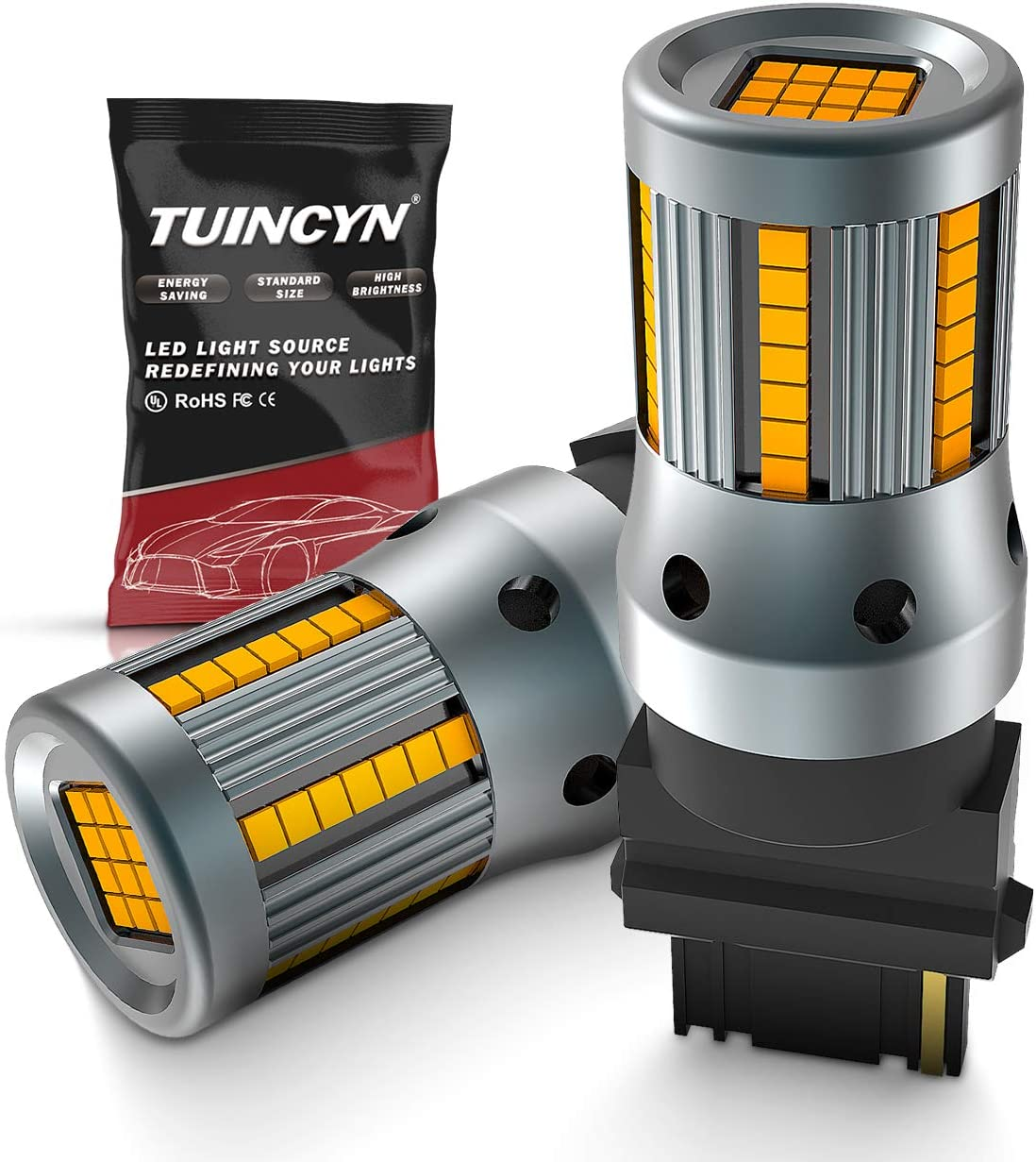 Pack of 2 TUINCYN 7440 7440NA LED Bulb CANBUS Free Amber Yellow WY21W T20 Turn Signals Light Built-in High Decoding Rate Load Resistor 54pcs LED Cree Chip Anti Hyper Flash Error Code Blinkers