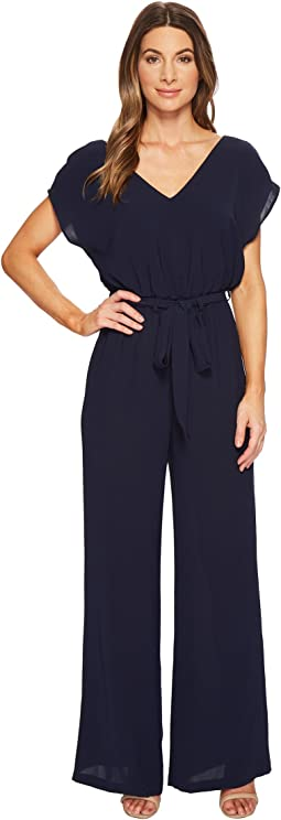 Adrianna Papell - Gauzy Crepe Belted Jumpsuit