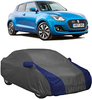 NEXTON Presents Water Resistant Polyester Fabric Car Body Cover for Maruti Suzuki Swift with Mirror Pockets (Grey & Blue Design)
