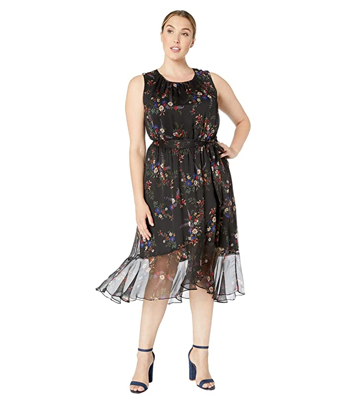 1920s Plus Size Flapper Dresses, Gatsby Dresses, Flapper Costumes Vince Camuto Specialty Size Plus Size Sleeveless Ruffled Hem Belted Country Bouquet Dress Rich Black Womens Dress $78.64 AT vintagedancer.com