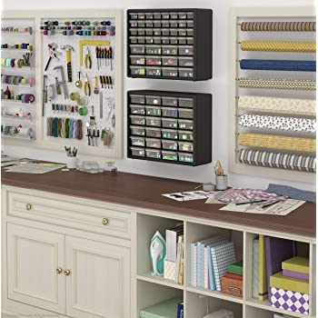 Akro-Mils 24 Drawer 10124, Plastic Parts Storage Hardware and Craft Cabinet, (20-Inch W x 6-Inch D x 16-Inch H), Blac...