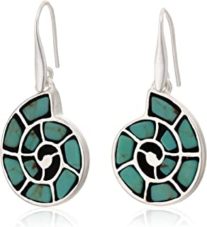 Lucky Brand Turquoise Inlay Shell Drop Earrings , Silver