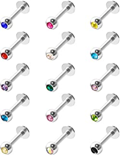 15 Pezzi Piercing del Labbro in Acciaio Inossidabile Labbro Barra Piercing al Anello del Corpo Cartilagine Trago, 16 Gauge...