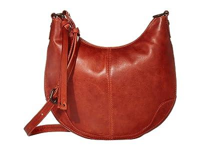 Frye Melissa Small Scooped Hobo Crossbody (Burnt Orange) Handbags