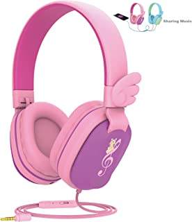 Kids Headphones, Riwbox CS6 Lightweight Foldable Stereo Headphones Over Ear Corded Headset Sharing Function with Mic and Volume Control Compatible for iPad/iPhone/PC/Kindle/Tablet Pink CS6