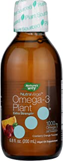 Nature's Way NutraVege Extra-Strength Omega-3 Plant Based Supplement, Cranberry-Orange, 6.8 oz