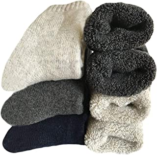 Mens Heavy Thick Wool Socks - Soft Warm Comfort Winter Crew Socks (Pack of 3/5),Multicolor,One Size 7-12