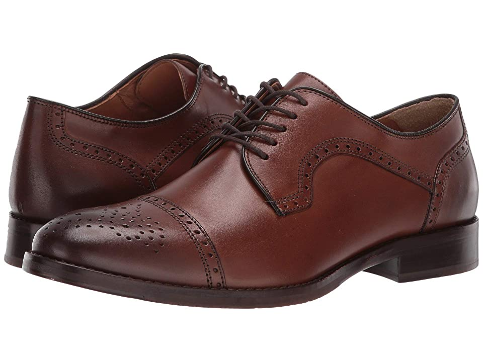 1920s Style Mens Shoes | Peaky Blinders Boots Johnston  Murphy Halford Cap Toe Tan Full Grain Mens Lace Up Cap Toe Shoes $168.95 AT vintagedancer.com