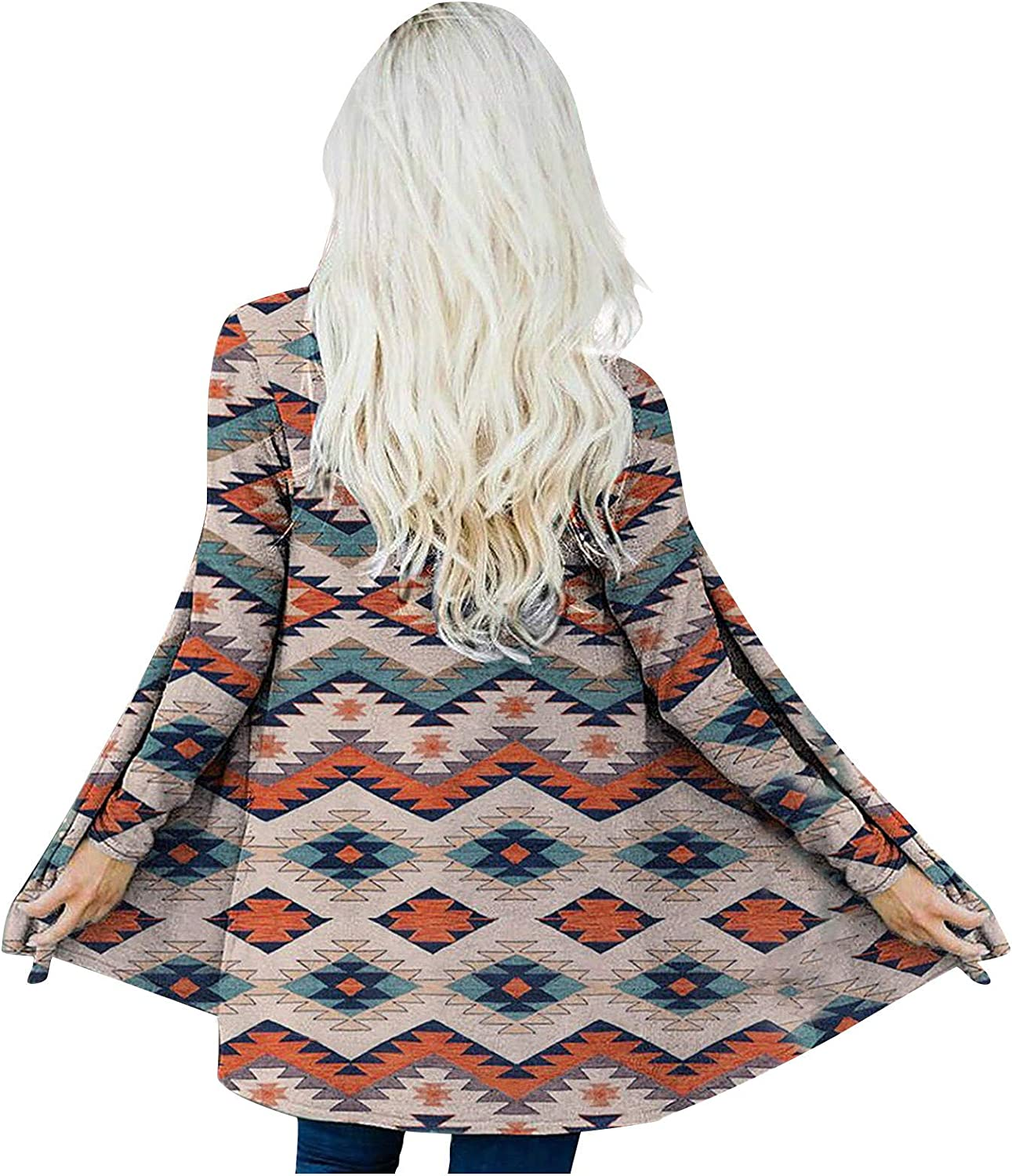 Women's Open Front Ethnic Graphic Cardigans for Women Geometric Womens Long Sleeve Casual Blouse Tops Khaki