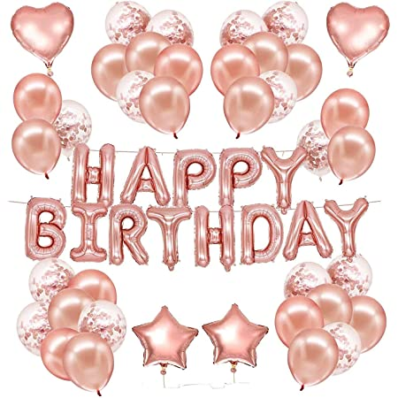 Party Propz Rose Gold Birthday Decorations Items Combo - 37Pcs Set With Foil Happy Birhday Letters Rubber Ballons;Metallic Balloons;Curling Ribbons For Girls,Kids,Women,Wife,Girlfriend Theme Decor Or Gifts,Rose Gold