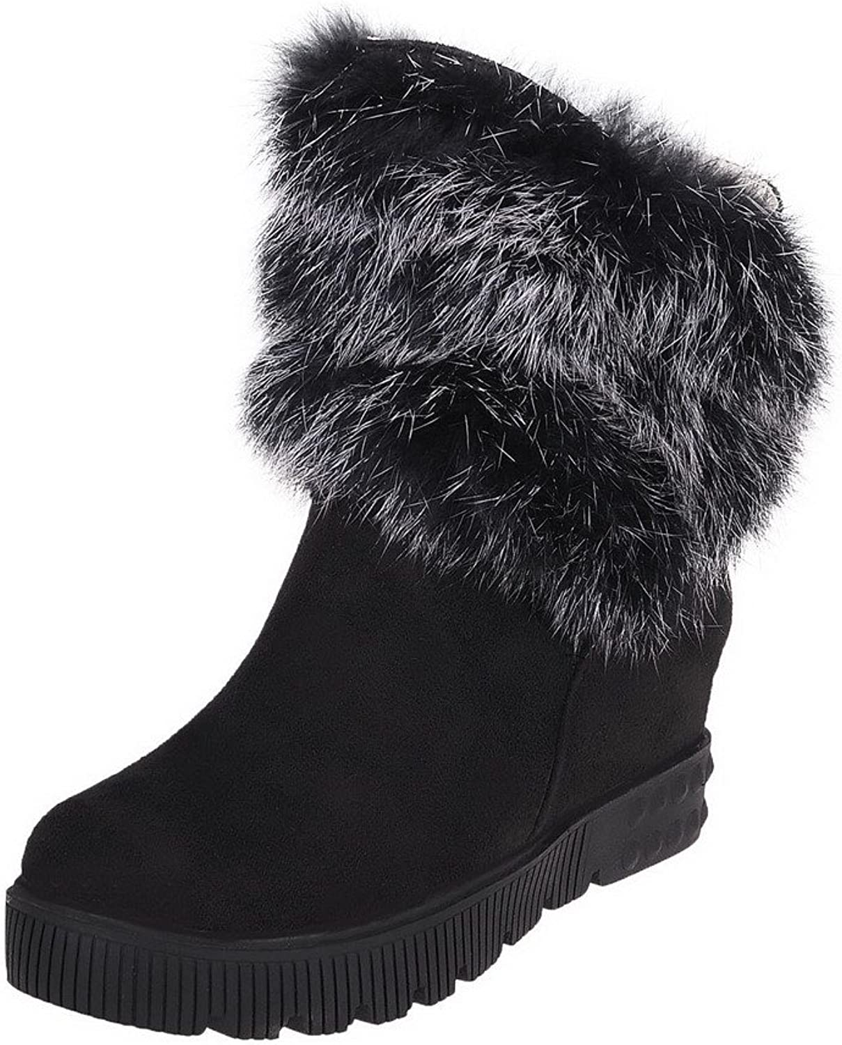WeiPoot Womens Blend Materials Pull-On Solid Round Closed Toe Boots