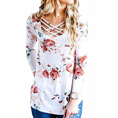 7af4c88a3eecaf Walant Women's Floral Printed Long Sleeve Criss Cross V-Neck Casual Tops T- Shirt