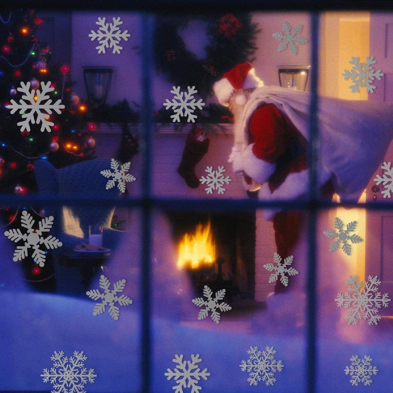 21 * 29cm*12 UMIPUBO 216 pcs White Snowflakes Window Stickers Static Decal Stickers Snow Flakes Stickers for Christmas Window Clings Decorations B