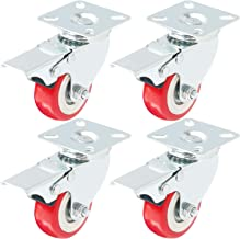 Online Best Service Caster Wheels Swivel Plate w/Brake On Red Polyurethane Wheels, 4 Pack, (2 inch with Brake)