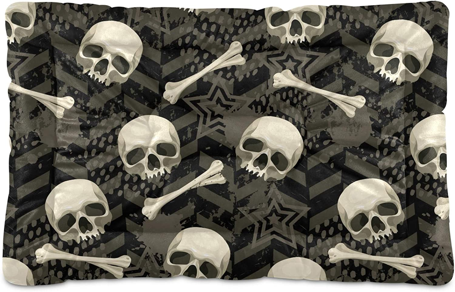 Dog Bed Mat Year-end gift Skull Crate Washable for Large Mattress Medi Some reservation