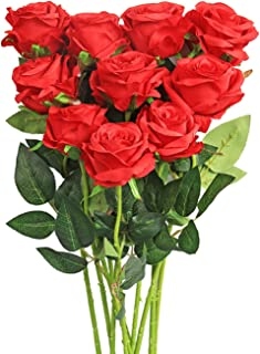Luyue Artificial Silk Rose Flower Bouquet Wedding Party Home Decor, Pack of 10 (Style 1-Red)