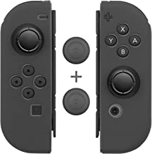 Joy-Con Gel Guards with Thumb Grip Caps (1 Pair / 4pcs), Fosmon Anti-Slip Silicone Skin Cover L/R with Thumb Stick Grip Ca...