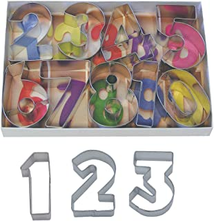 """R&M International Numbers 2.5"""" Cookie Cutters with Cut-Outs, 9-Piece Set"""