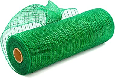 10 Inch x 30 Feet Deco Poly Mesh Ribbon with Metallic Foil Each Roll for Wreaths, Bows Wrapping and Decorating Projects, Mesh