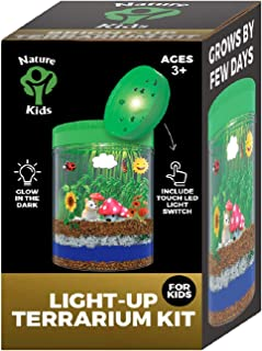 Light-up Terrarium Kit for Kids with LED Light on Lid - Crafts & Arts Create Customized Mini Garden for Children - Kids Birthday Gifts Science Educational STEM Toys for Boys and Girls Age 4 5 6 7 8 9+