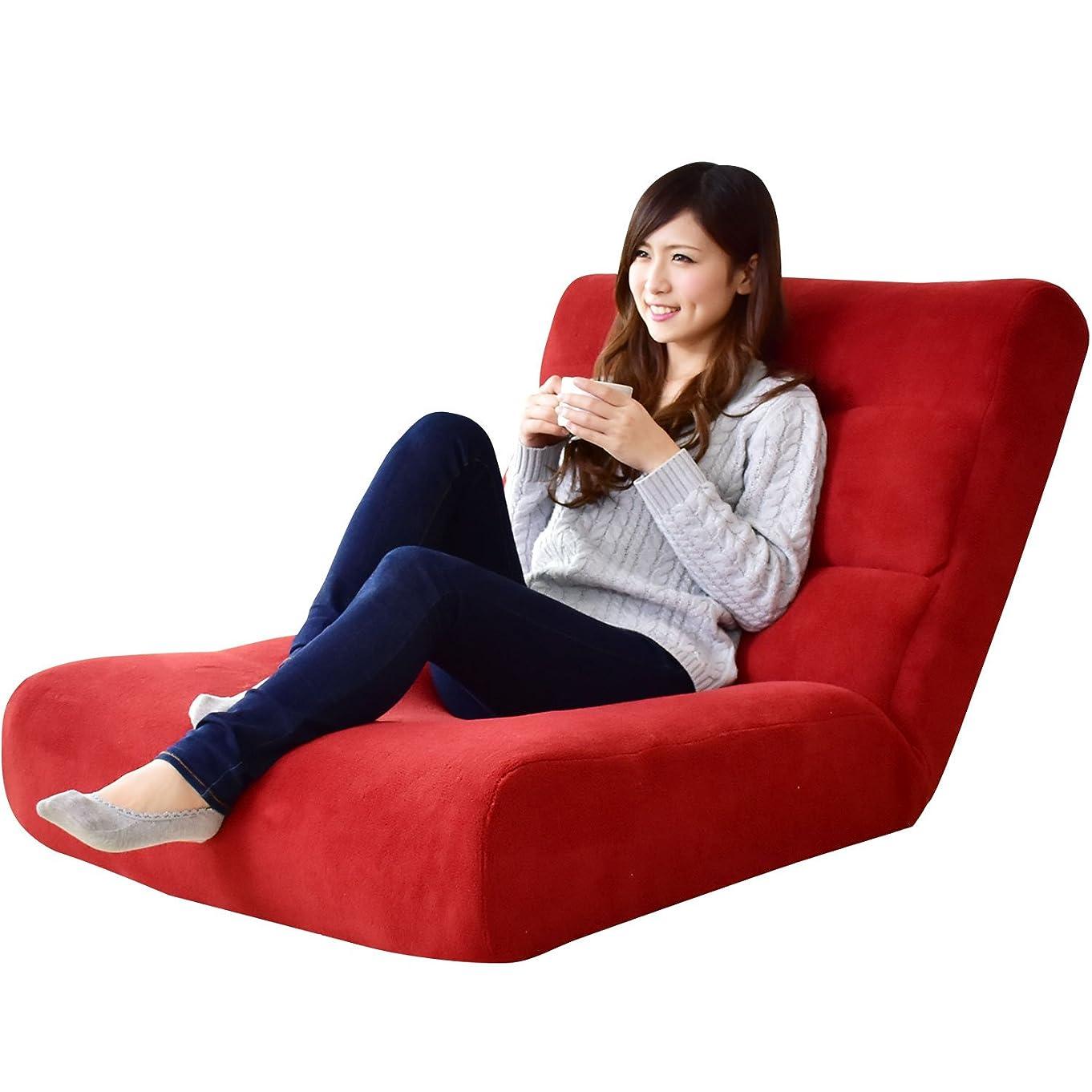 お手伝いさん突然のスイッチDORIS 座椅子 ワイドサイズ 幅80 ハイバック 42段階 リクライニング ポケットコイル レッド ヌイ