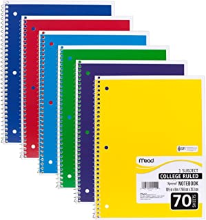 Mead Spiral Notebooks, 1 Subject, College Ruled Paper, 70 Sheets, Colored Note Books, Lined Paper, Home School Supplies fo...