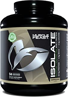 MUSCLE FEAST Grass Fed Whey Protein Isolate, All Natural, Hormone Free, Fast Absorbing, 100% Pure Isolate, 20.5g Protein, ...