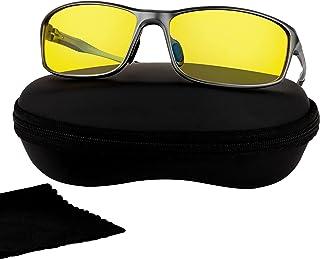 عینک رانندگی در شب ضد تابش قطبی - عینک دید در شب آلومینیوم برای دوچرخه سواری ماهیگیری   عینک های مردانه لنز پلاریزه رنگ زرد
