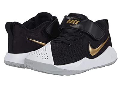 Nike Kids Team Hustle Quick 2 (Little Kid) (Black/Metallic Gold/Light Smoke Grey/White) Kids Shoes