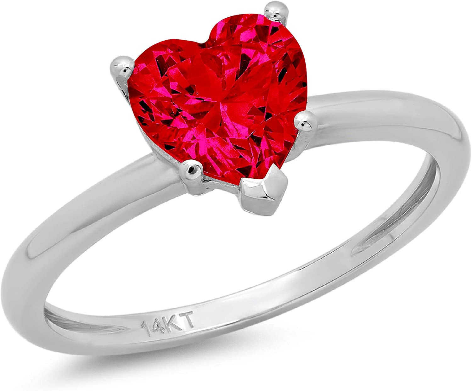 2.0 ct Brilliant Heart Cut Solitaire Flawless Simulated CZ Red Ruby Ideal VVS1 5-Prong Engagement Wedding Bridal Promise Anniversary Designer Ring Solid 14k White Gold for Women