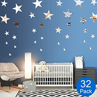 Removable Acrylic Mirror Setting Wall Sticker Decal for Home Living Room Bedroom Decor (Style 7, 32 Pieces)