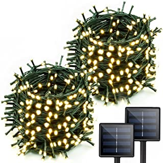 Extra-Long 2-Pack Each 72FT 200 LED Solar String Lights Outdoor (Upgraded Super-Bright), Waterproof Green Wire Solar Light...