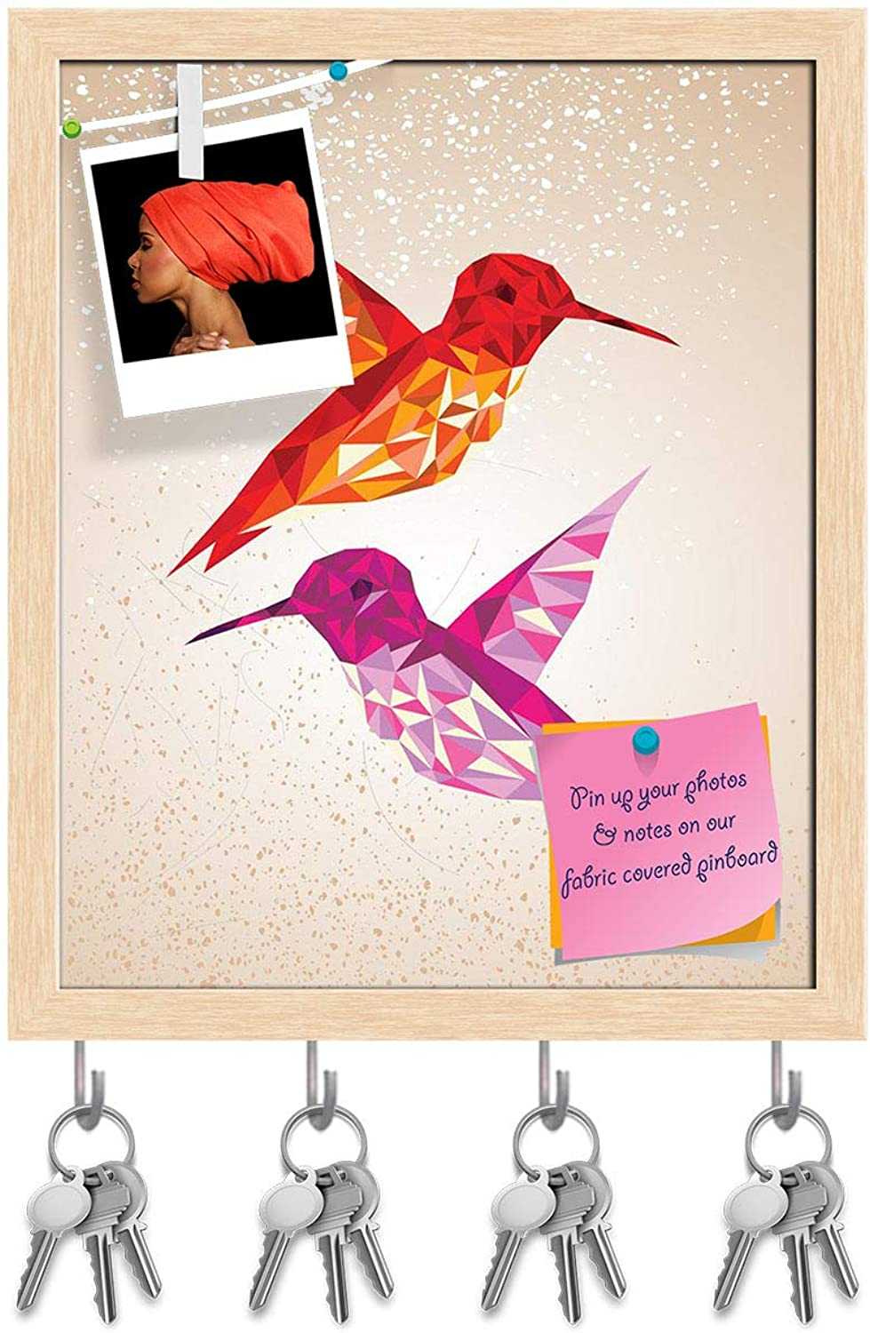 Artzfolio Abstract Humming Birds Triangles Shapes Key Holder Hooks   Notice Pin Board   Natural Brown Frame 16 X 19.5Inch