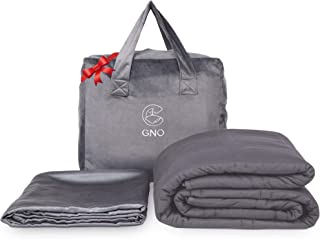 GnO King Size Weighted Blanket & BONUS Removable Bamboo Duvet Cover-100% Organic Cooling Cotton & Glass Beads- Heavy Blanket For Individual Or Couples -Designed in USA -Dark Grey- (25 Lbs - 80''x87'')