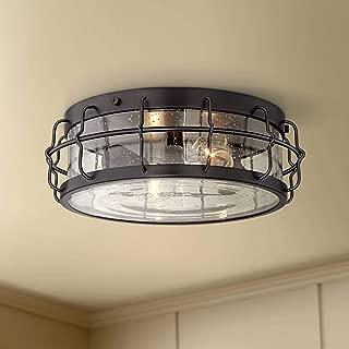 Aya Modern Ceiling Light Flush Mount Fixture Bronze Caged 13 1/4