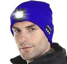 Hoofdtelefoon met ingebouwde stereoluidsprekers Microfoon, Bluetooth 5.0 LED-beanie-hoed, kamperen Skiën Wandelen Kamperen...