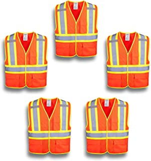 XSHIELD XS0100,High Visibility Safety Vest with Silver Stripe,ANSI/ISEA 107-2015 Type R Class2 Not FR,Pack of 5 (XL, Orange)